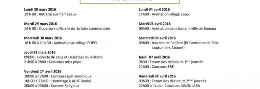 LE PROGRAMME OFFICIEL DU POPO CARNAVAL DE BONOUA 2016